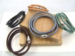 Triple Loop Leather Bracelet with Oval Magnetic Barrel Clasp (LC1)